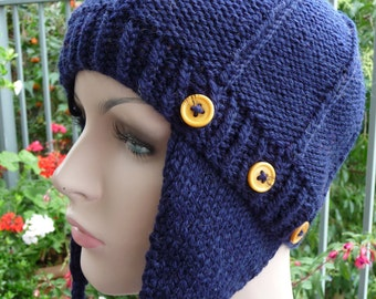 Pure Wool Removable Earflap Hat  -  1354