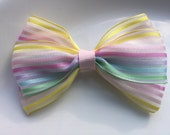 Rainbow Pastel Hair Bow Hair Clip Large Bow