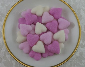 60 Pink Petite Heart shaped sugar cubes for tea party, bridal shower, party favor, wedding, baby shower, hostess gift