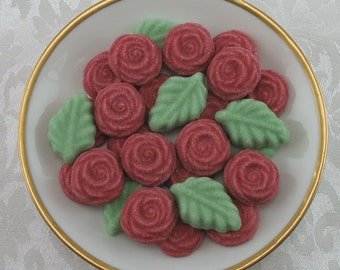 36 Red Open Rose and Leaf shaped sugar cubes for tea party, shower, coffee, tea, party favor, hostess gift