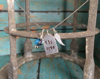 Fly Free Metal Stamped Charm Necklace