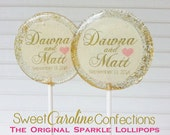White and Gold Wedding Favors, Hard Candy Lollipops, Edible Images, Sparkle Lollipops, Favors, Sweet Caroline Confections -Set of Six