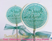Teal Wedding Favors, Personalized, Candy Lollipop, Edible Images, Lollipops, Party Favors, Sweet Caroline Confections-Set of Six