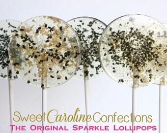 New Years Eve Favors, NYE, New Years Lollipops, Hard Candy Lollipops, Black and Gold, Gold Candy, Gold Favors, Holiday Candy-Set of Six