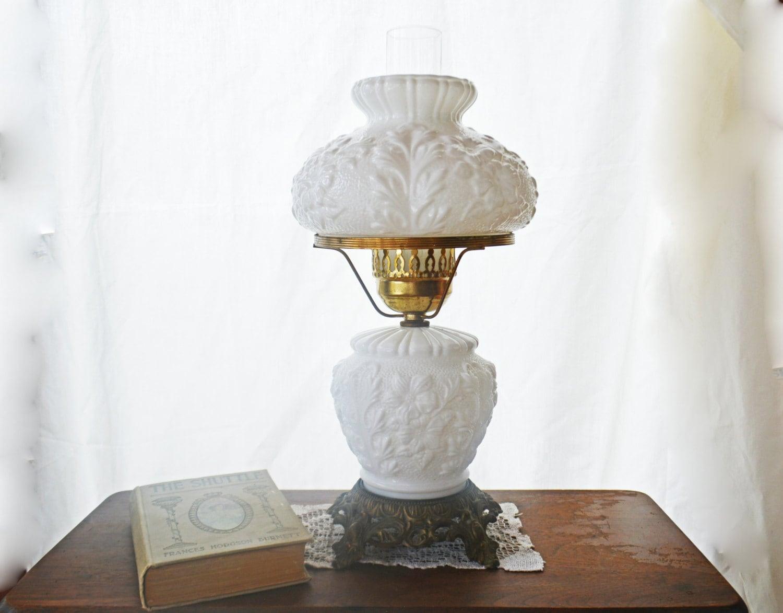 white milk glass lamp vintage hurricane light 3 piece light