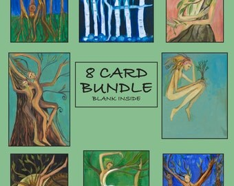 Trees Series Card Bundle, one each of all 8 Greeting Cards from Jennifer Kunin's Trees Series Paintings