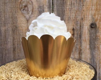Metallic Gold Cupcake Wrappers (Set of 12)