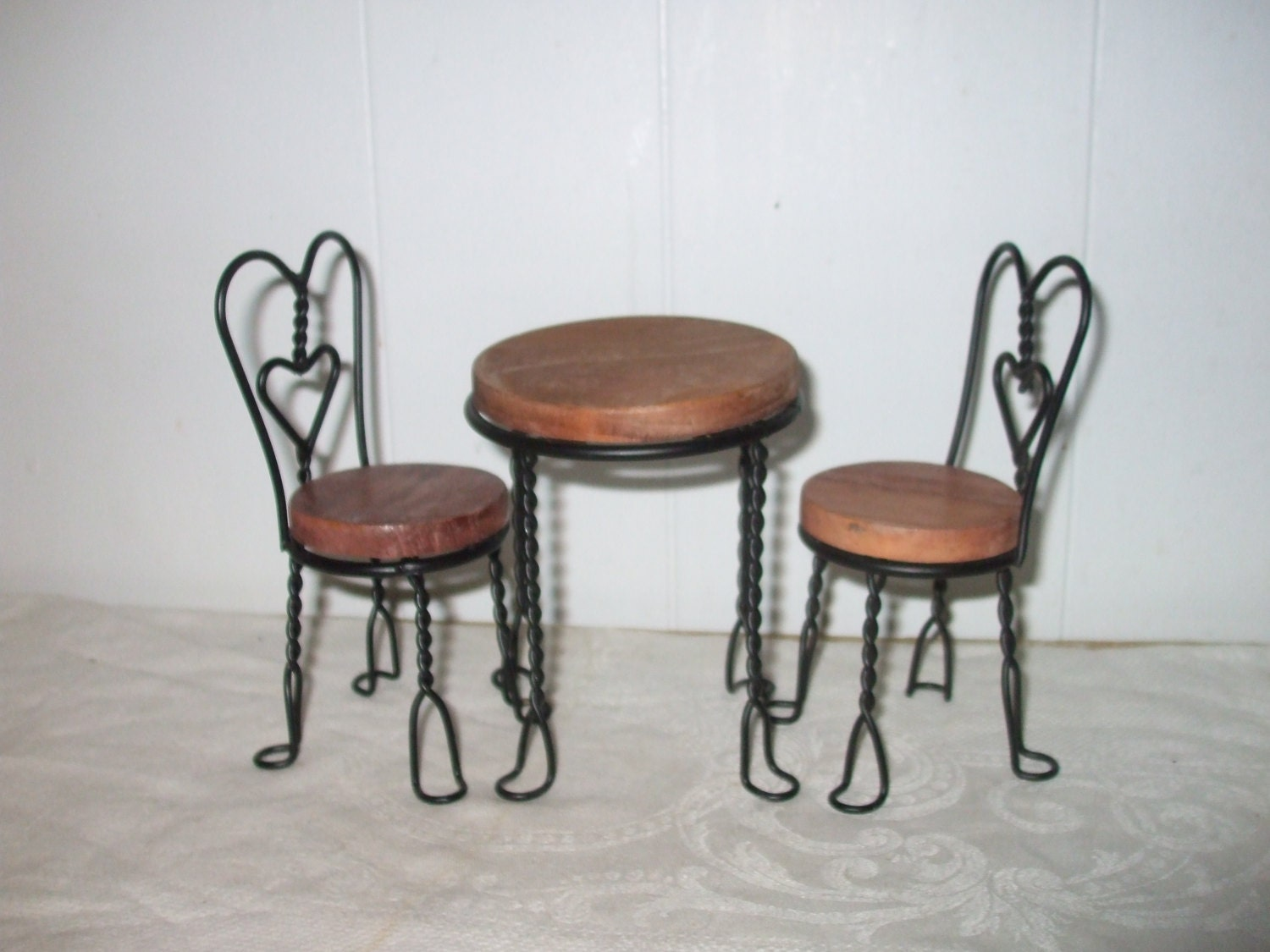 Doll ice cream parlor table and chairs wood by
