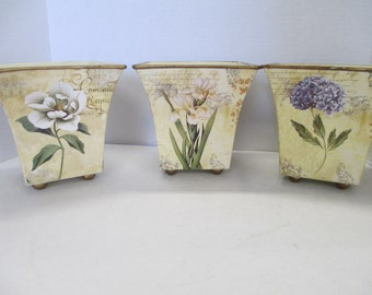 Vintage Set of 3  floral containers Boxes