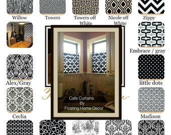 Black Designer Fabric Cafe Curtain, Kitchen Curtains, Living Rooms,  Bathroom, Small Window