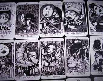 BAMBOLANERALICE UNDERGROUND Tarot -available- 22  big Arcana Major Tarot Deck - B/W - plasticized- limited edition 50 decks by Layla