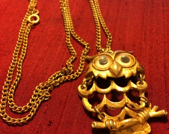 1970's Gold-tone articulated Owl Necklace