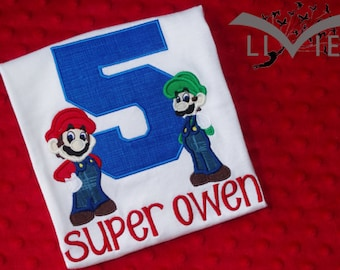 Super Mario & Luigi Appliquéd Birthday Shirt or Toadstool