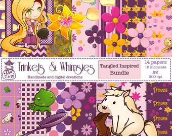 Tangled Rapunzel Fan Art Digital Scrapbook Papers - Instant Download