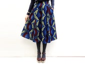 Blue African Print Midi Skirt, Full Flared Skirt, African Clothing