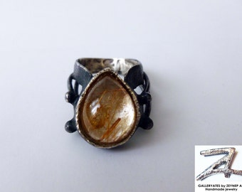 Rutilated quartz ring,Rutilated quartz and oxidized sterling silver,One of a kind gemstone ring-Statement ring-Ready to ship