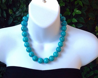 Chunky turquoise necklace. Large turquoise necklace. Round turquoise necklace. Turquoise necklace. Western necklace.
