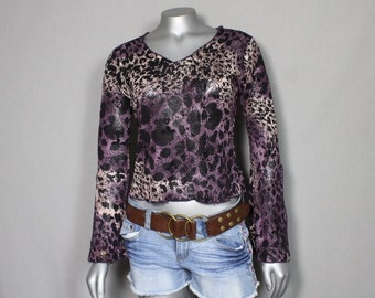 Purple Leopard Hippie Top