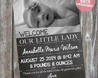 Chalkboard Baby Birth Announcement - Baby Girl