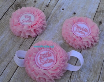 Little Sister headband and middle sister and big sister clip in pink and white