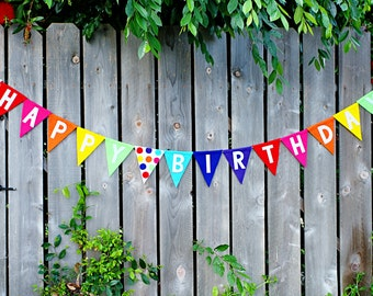Rainbow Happy Birthday Banner - Felt Pennant Banner - Photo Prop - Carnival Party - Circus Party