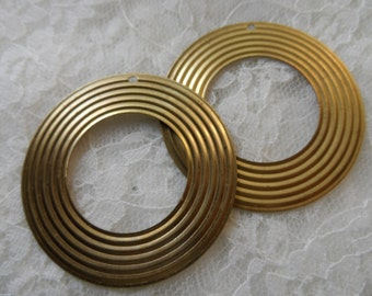 "Raw brass stamped open disks,1 &3/4"",2pcs-KC397"