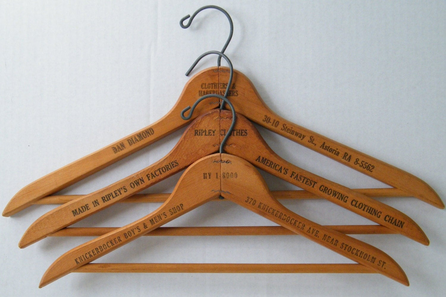 vintage wood clothes hangers coat hanger nyc advertising