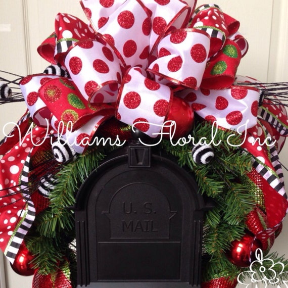 Christmas Decoration For Mailboxes : Christmas mailbox swag decor red and green