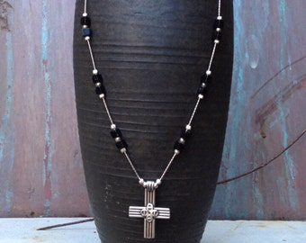 Sterling and onyx cross necklace