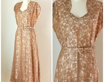 50s Lace Dress/ 1950s Party Dress/ Rockabilly Dress/ Womens Size Medium