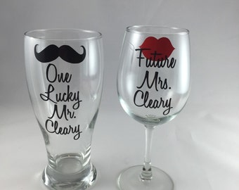 Engagement Gift, Bridal Shower Gift, Engagement Party Gift, future Mrs with lips, one lucky mr mustache, wedding gift, keepsake or memento