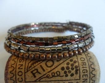 Boho Memory Wire Bracelet - Wrap Bracelet - Beaded Bracelet - Mixed Metallic and Glass Beads