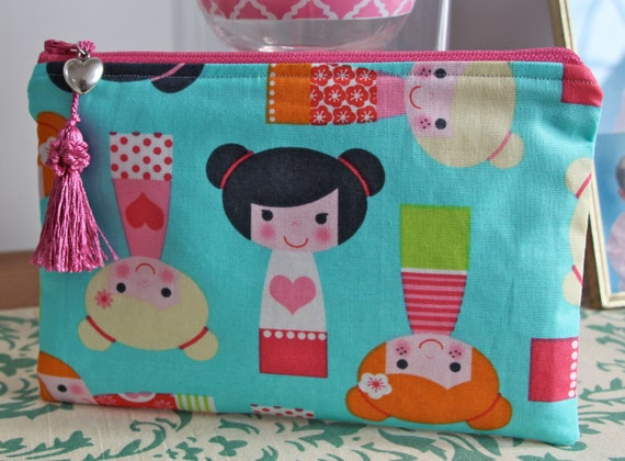Valentine Hearts Dolls Jewelry Pouch Pencil Case