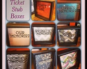 "Ticket Stub Shadow Box, Admit One, Memory Box, 8x8"", Shadow Box, Admit One, Ticket Box, anniversary gift, teen gift,"