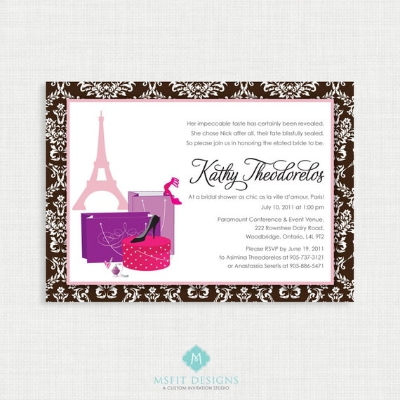 Paris Wedding Shower Invitation- Paris Bridal Shower Invitation, Fashion invitation, Shower, Bridal Parisian Invitations