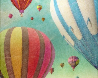 Hot Air Balloons 2 - blue green - green - red - blue - wall art
