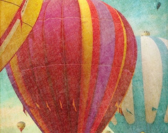Hot Air Balloons 1 - blue green - mint green - red - vintage style