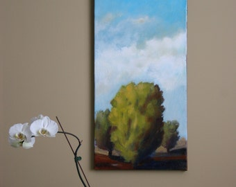 Abstract landscape painting with trees, clouds and bright sky - 12x24x3/4""