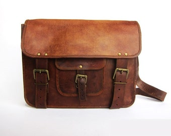 Handmade Real Brown Leather Vintage Style Bag, Satchel, Buckles, Laptop Bag, Collage Bag