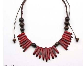Adjustable Red Tagua Necklaces.