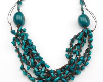 Crochet Adjustable Turquoise  Tagua Necklaces.
