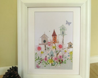 Print with birdhouses and flowers, beautiful and feminine with butterflies.