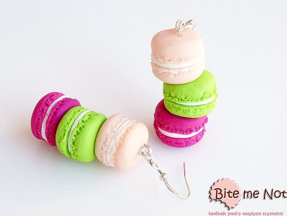 French Macarons Tower Hook Earrings, Mini Food, Macaron Earrings, Polymer Clay Macaron, Pastel Macarons, Macaroon Jewelry, Kawaii Jewelry