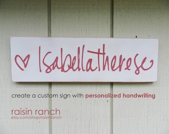 Loved one's personalized handwriting, handpainted wooden sign // MEDIUM sized // made to order!