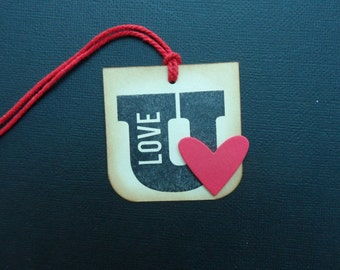 Love U Tag, Valentines Tag, Heart Tag, Holiday tag, Gift Tag,