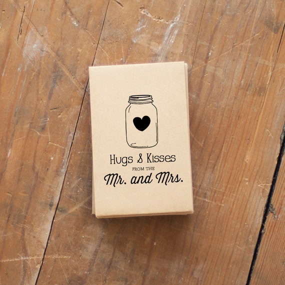 Custom wedding stamp, Hugs and Kisses, Wedding favor stamp, mason jar, favors, invitations, wedding stamp, wedding gift, custom stamp rubber
