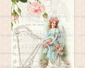 Vintage Angel Harp Pink Roses | Digital Images Collage Sheet Instant Download