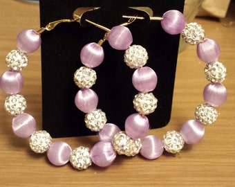 Formal Prom and wedding style hoop with Lavender  and white beads