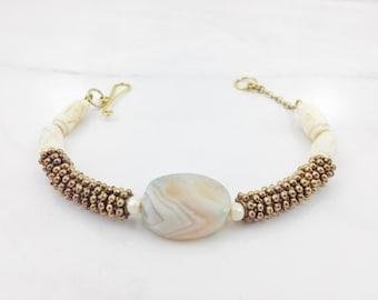 Brass & Bone Beaded Bracelet / Festival Jewelry