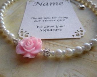 Pearl Flower Girl Necklace, Pearl Flower Girl Jewelry, Pearl Bridesmaid Necklace, Pearl Bridesmaid Jewelry, Pearl Childrens Necklace